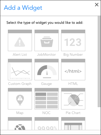 Selecting a widget type
