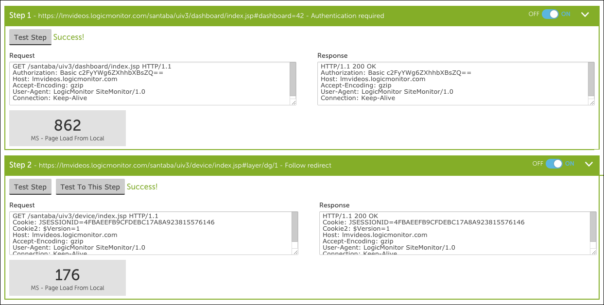 Testing the Steps of a Web Check | LogicMonitor Support