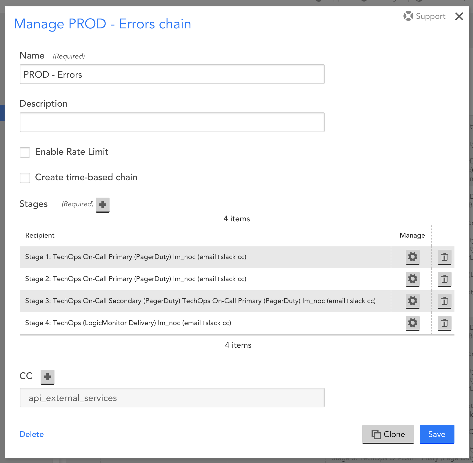 Escalation chain with the last stage not including PagerDuty in case of failure